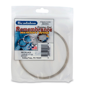 Remembrance Memory Wire, Round, Necklace, Bright, 0.25 oz (7 g), appx 9 coils/pack