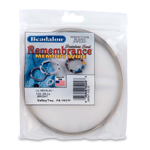 Remembrance Memory Wire, Round, Necklace, Large, Bright, 1 oz (28.35 g), appx 33 coils/pack