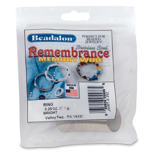 Remembrance Memory Wire, Round, Ring, Bright, 0.25 oz (7 g), appx 49 coils/pack