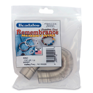 Remembrance Memory Wire, Round, Ring, Bright, 1 oz (28.35 g), appx 195 coils/pack