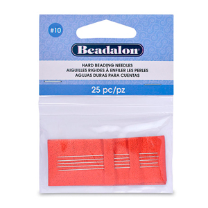 Hard Beading Needles, Size 10, for bead cord sizes up to .011 in (.28 mm), 25 pc