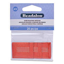Hard Beading Needles, Size 12, for bead cord sizes up to .0.007 in (.18 mm), 12 pc, 25 pc