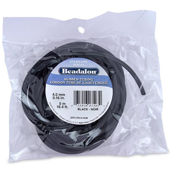 4 mm Beadalon Rubber Tubing 5 m Black 0.16 in 16.4 ft Neoprene