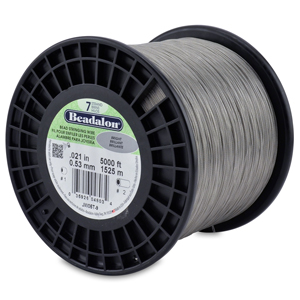 7 Strand Stainless Steel Bead Stringing Wire, .021 in (0.53 mm), Bright, 5000 ft (1525 m)