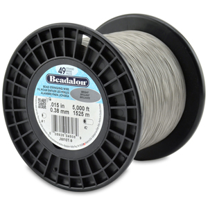 49 Strand Stainless Steel Bead Stringing Wire, .015 in (0.38 mm), Bright, 5000 ft (1525 m)