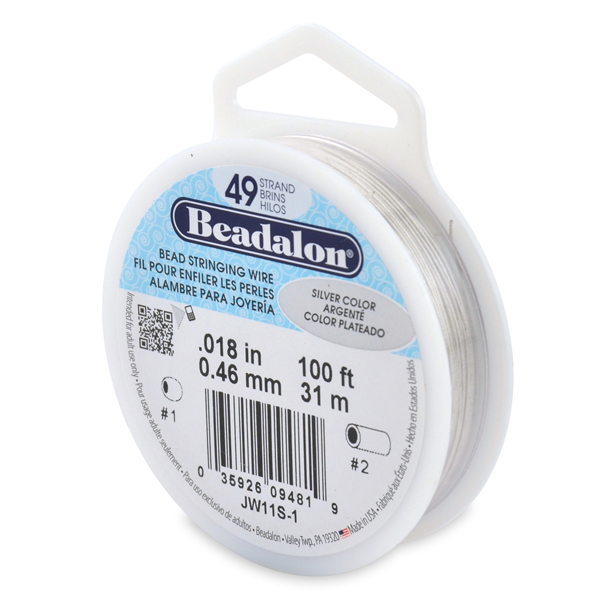 49 Strand Bead Stringing Wire, .018 in (0.46 mm), Silver Color, 100 ft (31 m)