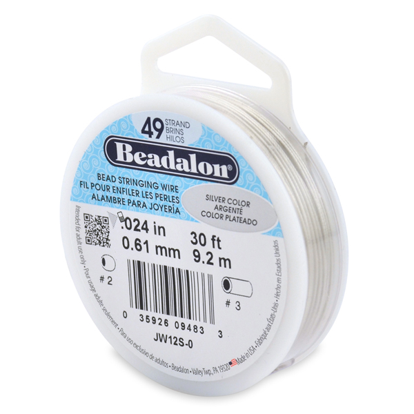 49 Strand Bead Stringing Wire, .024 in (0.61 mm), Silver Color, 30 ft (9.2 m)