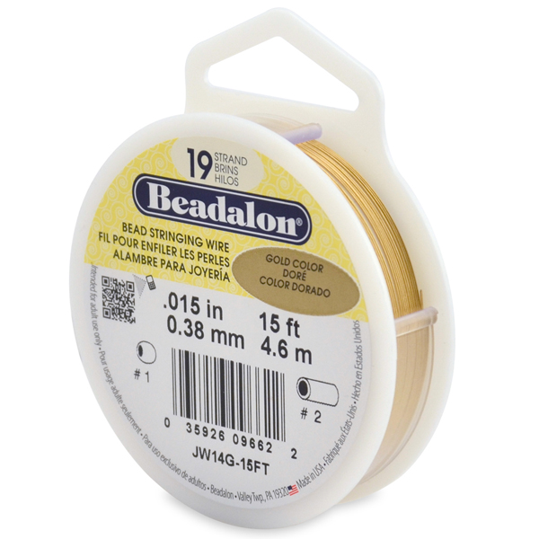 19 Strand  Bead Stringing Wire, .015 in (0.38 mm), Gold Color, 15 ft (4.5 m)