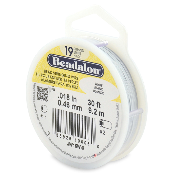 19 Strand Stainless Steel Bead Stringing Wire, .018 in (0.46 mm), White, 30 ft (9.2 m)