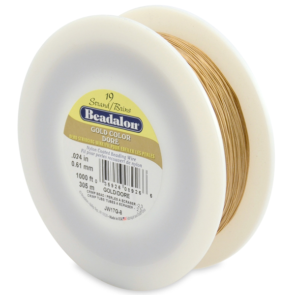 19 Strand  Bead Stringing Wire, .024 in (0.61 mm), Gold Color, 1000 ft (305 m)