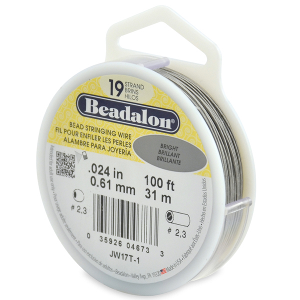 19 Strand Stainless Steel Bead Stringing Wire, .024 in (0.61 mm), Bright, 100 ft (31 m)