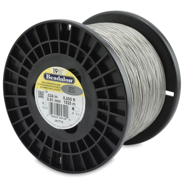 19 Strand Stainless Steel Bead Stringing Wire, .024 in (0.61 mm), Bright, 5000 ft (1525 m)