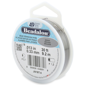 49 Strand Stainless Steel Bead Stringing Wire, .013 in (0.33 mm), Bright, 30 ft (9.2 m)
