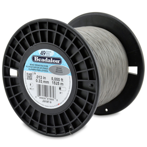 49 Strand Stainless Steel Bead Stringing Wire, .013 in (0.33 mm), Bright, 5000 ft (1525 m)