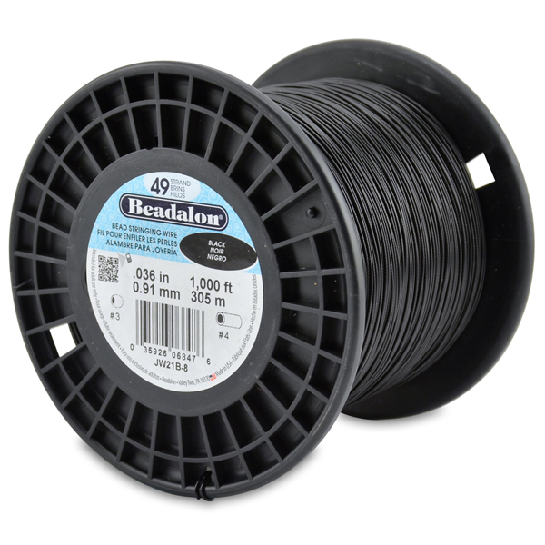 49 Strand Stainless Steel Bead Stringing Wire, .036 in (0.91 mm), Black, 1000 ft (305 m)