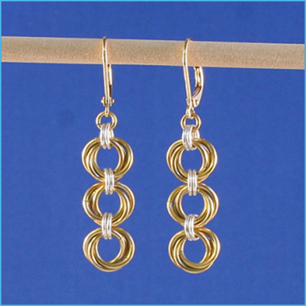 Tri Mobius Chain Maille Earrings