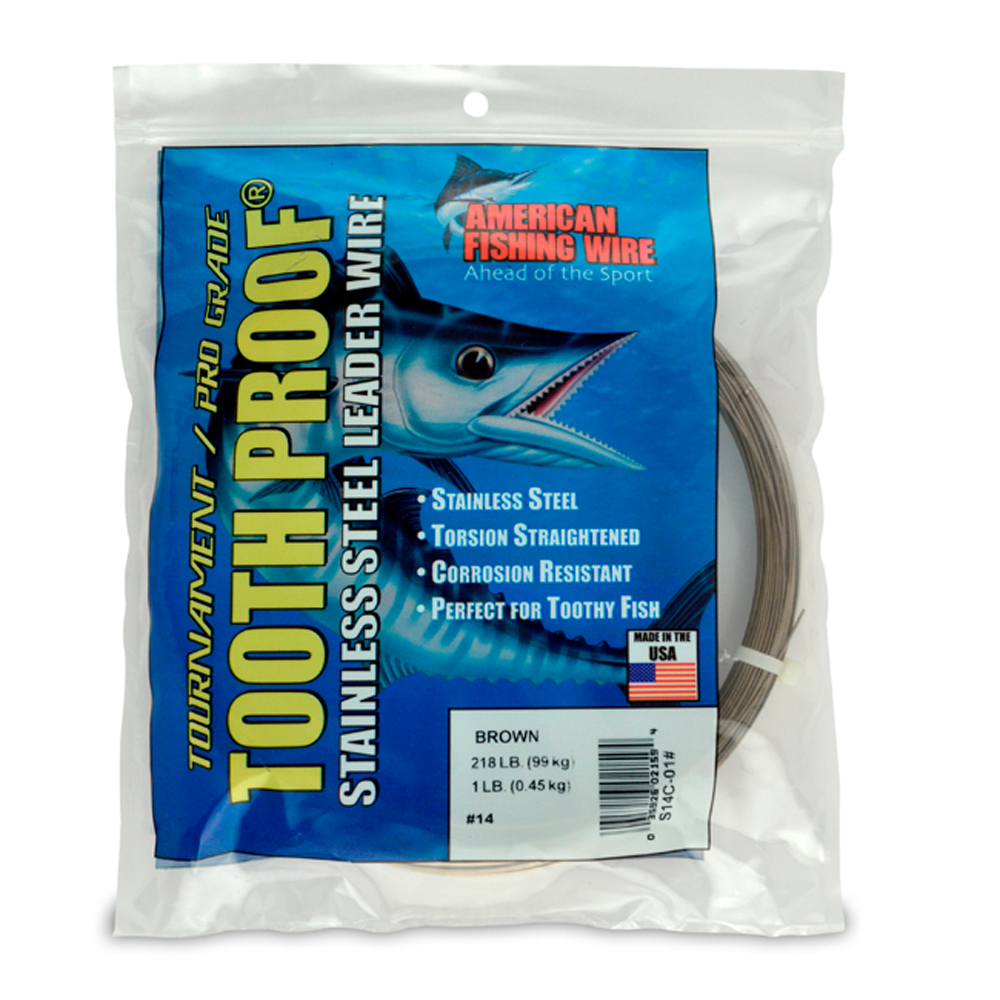 14 ToothProof Stainless Steel Single Strand Leader 218 Lb 99 Kg Test 033 In 084 Mm Dia Camo 1 454 G