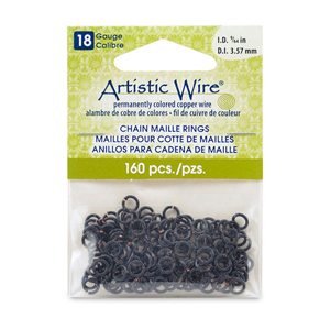 18 Gauge Artistic Wire, Chain Maille Rings, Round, Black, 9/64 in (3.57 mm), 160 pc