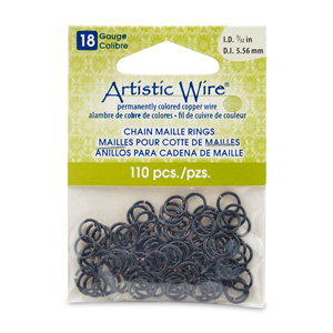 18 Gauge Artistic Wire, Chain Maille Rings, Round, Black, 7/32 in (5.56 mm), 110 pc