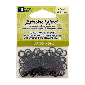 18 Gauge Artistic Wire, Chain Maille Rings, Round, Black, 15/64 in (5.95 mm), 100 pc