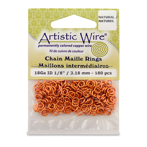 18 Gauge Artistic Wire, Chain Maille Rings, Round, Natural, 1/8 in (3.18 mm), 180 pc