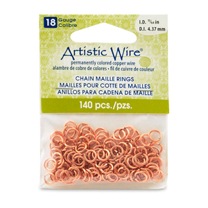 18 Gauge Artistic Wire, Chain Maille Rings, Round, Natural, 11/64 in (4.37 mm), 140 pc
