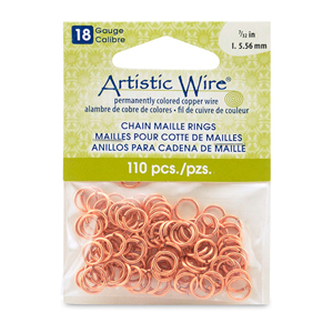 18 Gauge Artistic Wire, Chain Maille Rings, Round, Natural, 7/32 in (5.56 mm), 110 pc