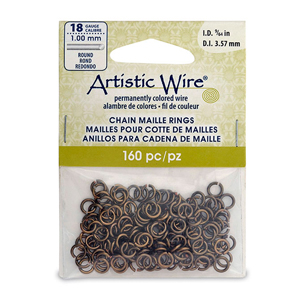 18 Gauge Artistic Wire, Chain Maille Rings, Round, Antique Brass Color, 9/64 in (3.57 mm), 160 pc