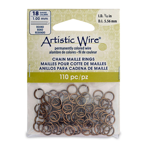 18 Gauge Artistic Wire, Chain Maille Rings, Round, Antique Brass Color, 7/32 in (5.56 mm), 110 pc