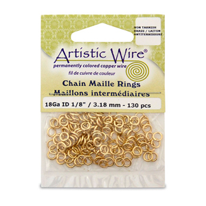 18 Gauge Artistic Wire, Chain Maille Rings, Round, Tarnish Resistant Brass, 1/8 in (3.18 mm), 130 pc