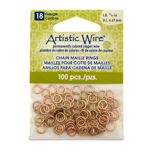 18 Gauge Artistic Wire, Chain Maille Rings, Round, Tarnish Resistant Brass, 11/64 in (4.37 mm), 100 pc