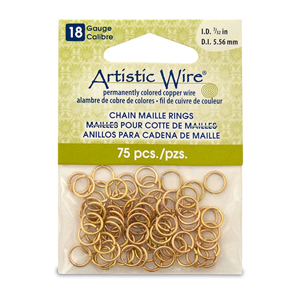 18 Gauge Artistic Wire, Chain Maille Rings, Round, Tarnish Resistant Brass, 7/32 in (5.56 mm), 75 pc