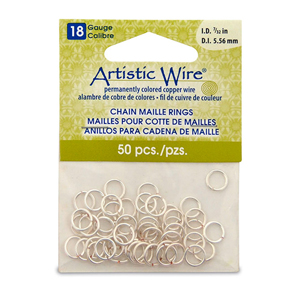 18 Gauge Artistic Wire, Chain Maille Rings, Round, Tarnish Resistant Silver, 7/32 in (5.56 mm), 50 pc