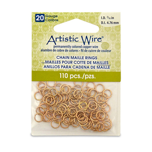 20 Gauge Artistic Wire, Chain Maille Rings, Round, Tarnish Resistant Brass, 3/16 in (4.76 mm), 110 pc