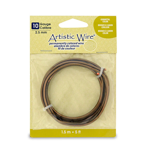 Artistic Wire, 10 Gauge (2.6 mm), Antique Brass, 5 ft (1.5 m)