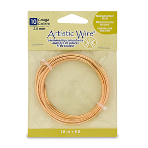 Artistic Wire, 10 Gauge (2.6 mm), Tarnish Resistant Brass, 5 ft (1.5 m)