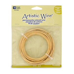 Artistic Wire, 10 Gauge (2.6 mm), Tarnish Resistant Brass, 25 ft (7.6 m)