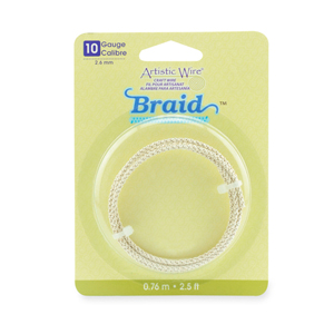Artistic Wire, 10 Gauge (2.6 mm), Braid, Round, Tarnish Resistant Silver, 2.5 ft (.76 m)