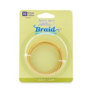 Artistic Wire, 10 Gauge (2.6 mm), Braid, Round, Tarnish Resistant Brass, 2.5 ft (.76 m)