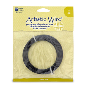Artistic Wire, 12 Gauge (2.1 mm), Black, 25 ft (7.6 m)