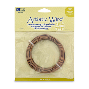 Artistic Wire, 12 Gauge (2.1 mm), Antique Brass, 25 ft (7.6 m)