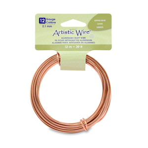 Artistic Wire, Aluminum Craft Wire, 12 Gauge (2.1 mm), Round, Anodized Copper Color, 39.3 ft (12 m)