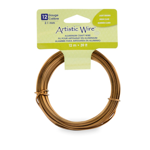 Artistic Wire, Aluminum Craft Wire, 12 Gauge (2.1 mm), Round, Anodized Light Brown, 39.3 ft (12 m)