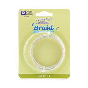 Artistic Wire, 12 Gauge (2.1 mm), Braid, Round, Tarnish Resistant Silver, 5 ft (1.5 m)