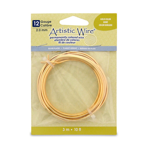 Artistic Wire, 12 Gauge (2.1 mm), Silver Plated, Gold Color, 10 ft (3.1 m)