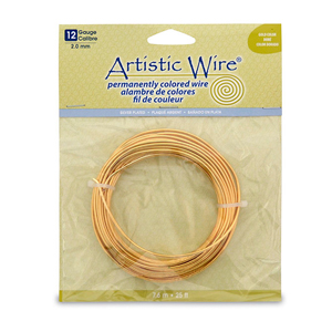Artistic Wire, 12 Gauge (2.1 mm), Silver Plated, Gold Color, 25 ft (7.6 m)