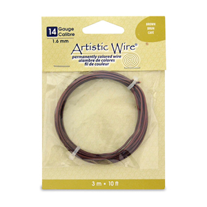 Artistic Wire, 14 Gauge (1.6 mm), Brown, 10 ft (3.1 m)