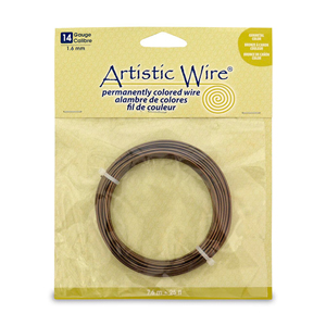 Artistic Wire, 14 Gauge (1.6 mm), Antique Brass, 25 ft (7.6 m)