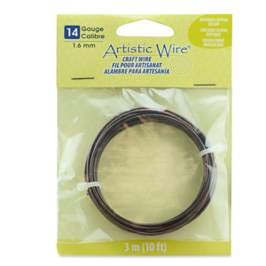 Artistic Wire, 14 Gauge (1.6 mm), Antique Copper Color, 10 ft (3.1 m)