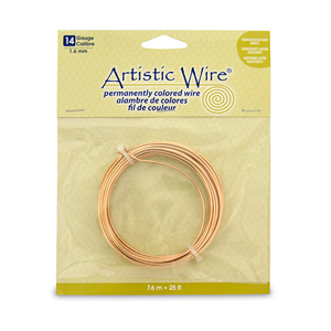 Artistic Wire, 14 Gauge (1.6 mm), Tarnish Resistant Brass, 25 ft (7.6 m)